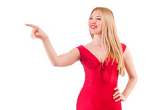 Blondie in red dress on white. The blondie in red dress isolated on white Stock Photos