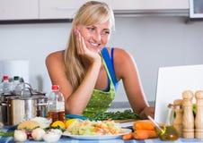 Blondie searching recipe in internet Stock Image