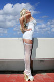 Blondie in white Royalty Free Stock Photo