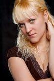 Blondie woman closeup portrait Stock Photos