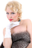 Blondie woman with fur Stock Photography
