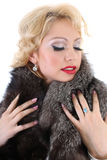 Blondie woman with fur collar dreaming Stock Image