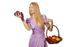 The blondie woman holding basket with fruits  on white Royalty Free Stock Photo