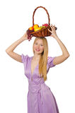 The blondie woman holding basket with fruits  on white Stock Photos
