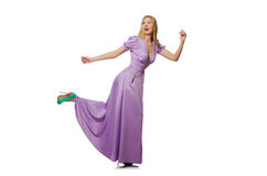 The blondie woman in purple long dress  on white Royalty Free Stock Photography