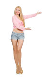 The blondie woman wearing jeans shorts isolated on white Stock Images
