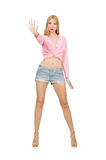 The blondie woman wearing jeans shorts isolated on white Stock Photos