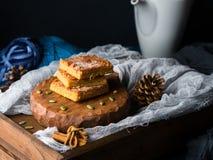 Blondies condimentados calabaza de la Navidad para el bocado del invierno Fotografía de archivo