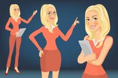 Blondin för affärskvinna flicka Unga kvinnor i elegant kontor beklär konstvektorn royaltyfri illustrationer