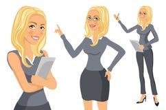 Blondin för affärskvinna flicka Unga kvinnor i elegant kontor beklär konstvektorn vektor illustrationer