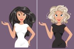 Blondin och brunett Royaltyfri Fotografi