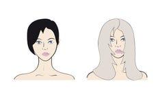 Blondin och brunett för två flicka Arkivbilder