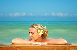 Blondine auf Hawaii Lizenzfreies Stockbild