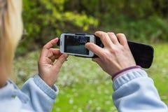 Blondine, die ein Telefon verwenden, machen ein Foto einer Landschaft Stockfoto