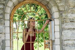 Blondine, die einen Baum im Park umarmen Junges Mädchen in einem roten Kleid, das in der Natur, gelehnt an einem Baum stillsteht Stockbild