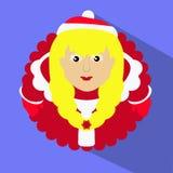 Blondine Fräuleins Klaus Sankt mit Schneeflockenherzen in den Händen des runden Knopfes, zum eines blauen Hintergrundes an zu kli Stockfotografie