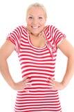 Blondine in gestreiftem Kleid Lizenzfreies Stockbild