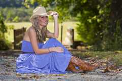 Blondine im blauen Kleid Stockbilder