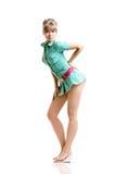 Blondine im grünen Kleid lizenzfreie stockfotos