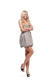Blondine im Kleid trennte Lizenzfreies Stockfoto