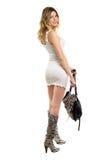 Blondine im kurzen weißen Kleid Stockbild