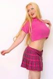 Blondine im Rosa Stockfotografie