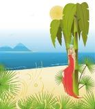 Blondine im roten Kleid bewundert Ozean Stockbilder