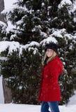 Blondine im Schnee Stockbilder