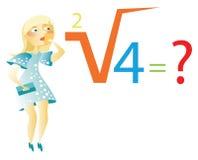 Blondine löst die mathematische Formel Stockfotografie
