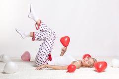 Blondine mit Ballonen Lizenzfreie Stockfotos