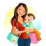 Blondine mit den blauen Augen, die Einkaufenbeutel nehmen Vektor Abbildung