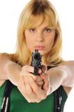 Blondine mit einer Gewehr Lizenzfreie Stockfotos