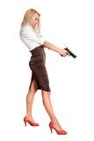 Blondine mit einer Gewehr Stockfoto