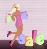 Blondine mit Einkaufstasche Stockbilder