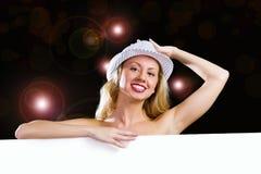 Blondine mit Fahne Lizenzfreies Stockfoto