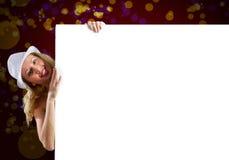 Blondine mit Fahne Lizenzfreie Stockfotografie