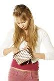 Blondine mit Handtasche Stockfoto