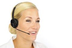 Blondine mit Kopfhörer Stockbild