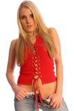 Blondine in Rot zwei Lizenzfreies Stockfoto