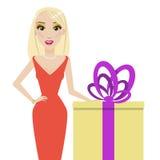 Blondine und Geschenkbox Stockfotografie