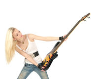 Blondine und Gitarre Lizenzfreie Stockfotos