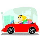 Blondinen i bilen Royaltyfri Bild