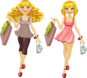 Blonds different hairstyles with shopping bags Royalty Free Stock Image