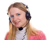Blonds portrait with head-phones Royalty Free Stock Images