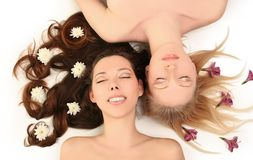 Blondy and brunette Stock Images