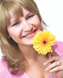 Blondy with flower Stock Images