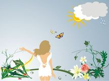 The blondy. The garden. The blondy in a garden. Background (vector Royalty Free Stock Image