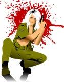 Blondy gun. Vector illustration of a beautiful woman holding a gun Stock Image