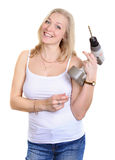 Blondy happy women  with drill. Royalty Free Stock Images