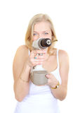 Blondy happy women  with drill. Stock Images